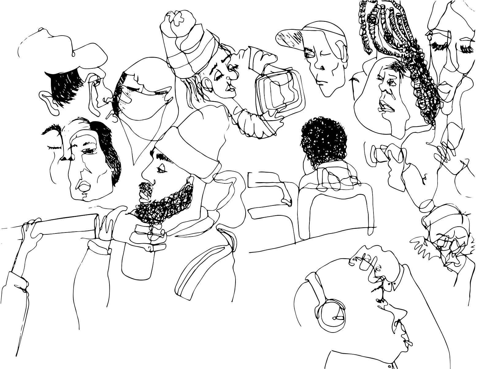 """the commute knows no personal boundaries , 2018   Ink on paper, vectorized  11"""" x 8.5"""""""