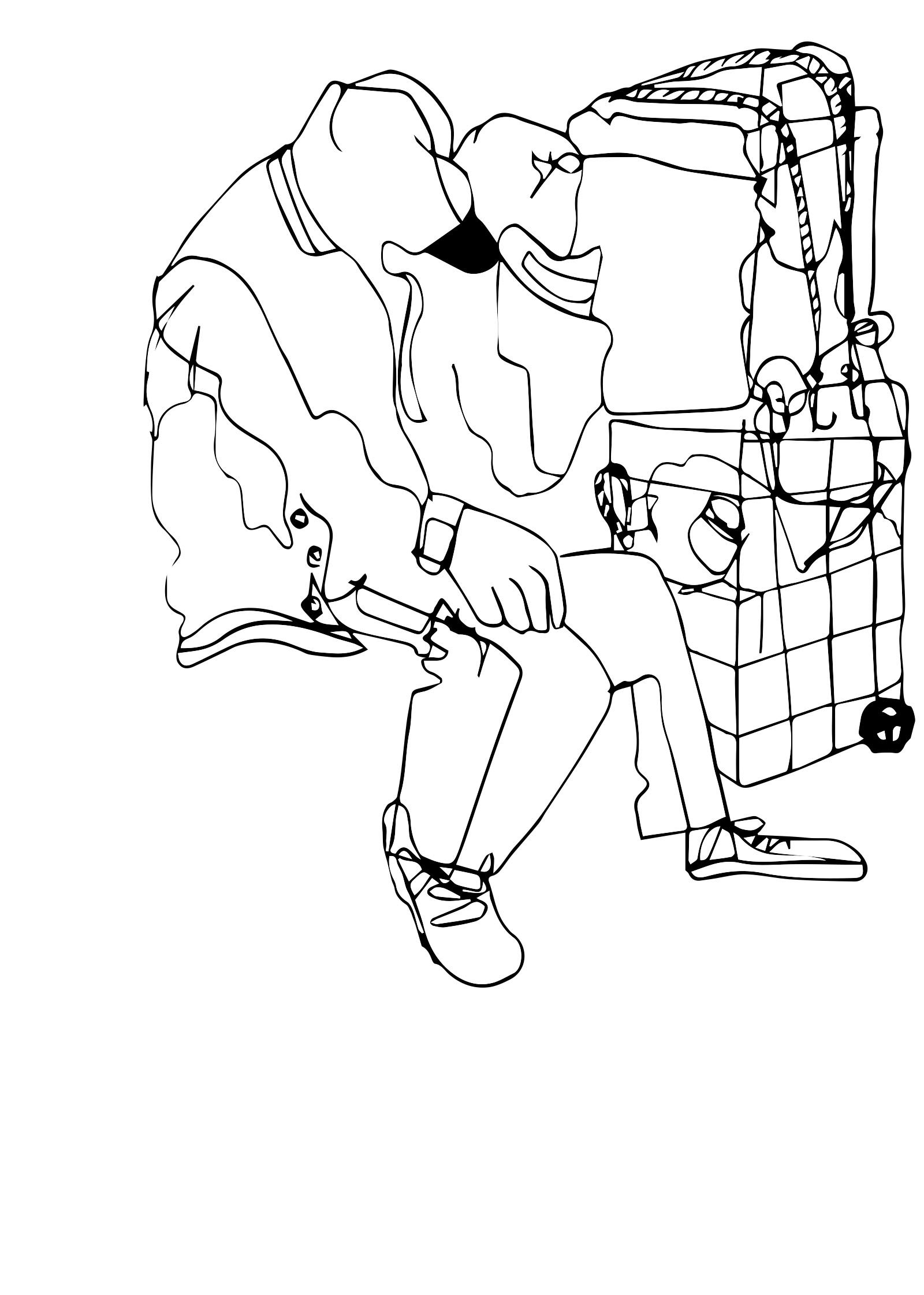 """a man and his baggage  ,  2018   Ink on paper, vectorized  5.5"""" x 8.5"""""""