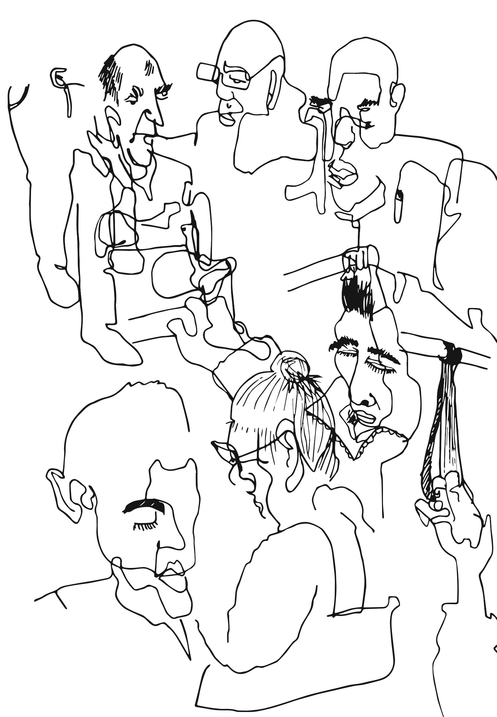 """the crowd , 2018   Ink on paper, vectorized  5.5"""" x 8.5"""""""