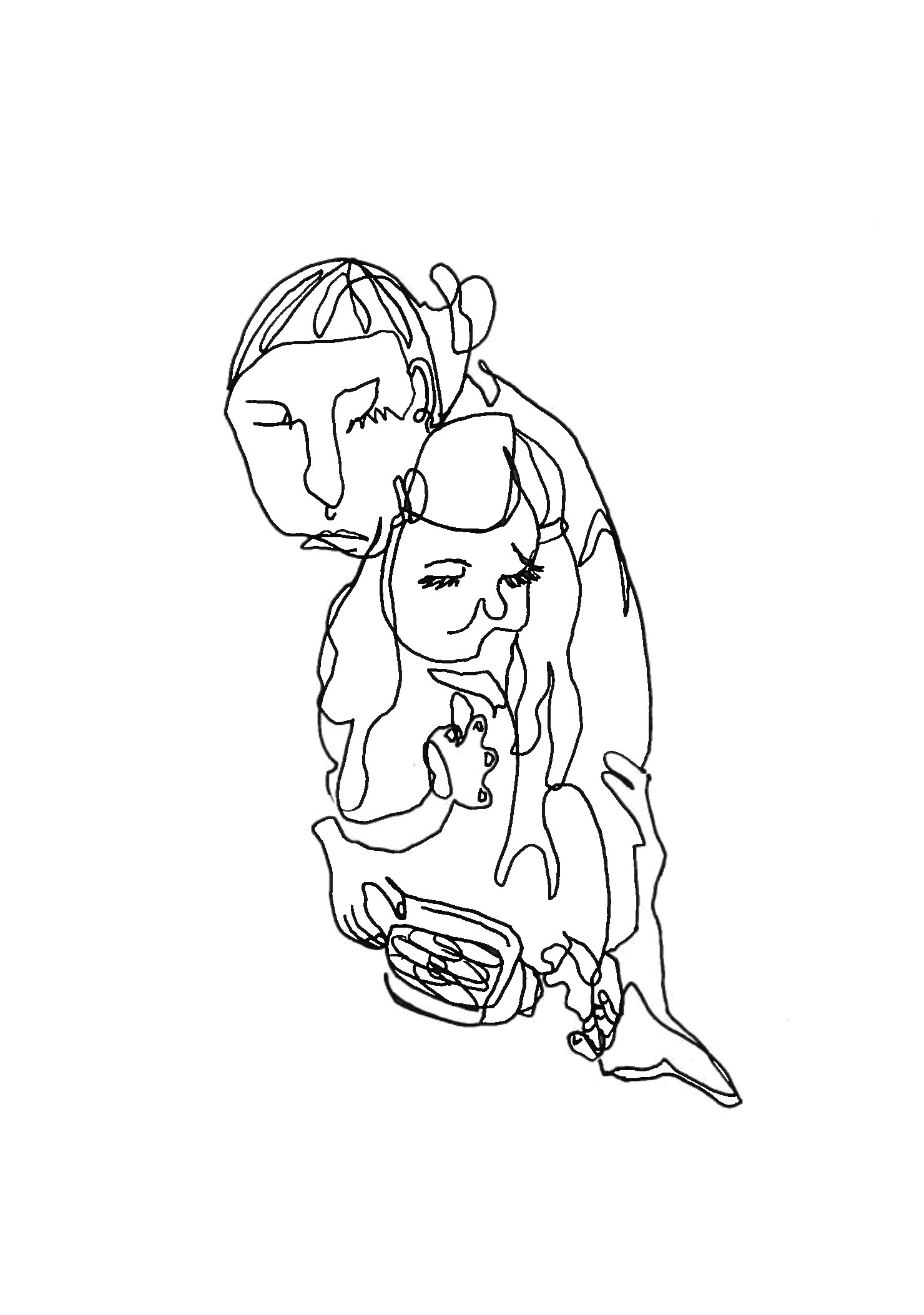 madonna and child feeding self dried snappeas, 2018   ink on paper