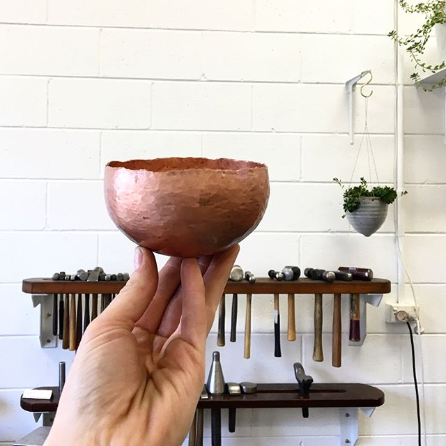 Ever wanted to try your hand at the traditional silversmithing process of raising? Well guess what?! We've had a last minute cancellation for this weekend's Raising a Copper Bowl Workshop. It's a fun two day workshop where you'll learn all about raising and planishing to craft your own copper bowl - from flat sheet to hollow form using specialised hammers 💪🏻 Send us an email if you'd like to grab this last spot. You can read up on all the workshop details via our website.
