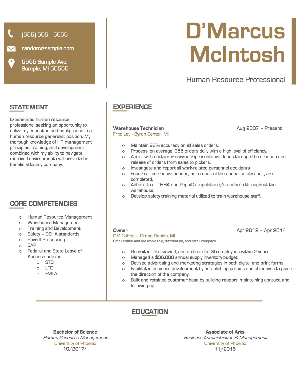 Client #7 Resume. Click to enlarge.