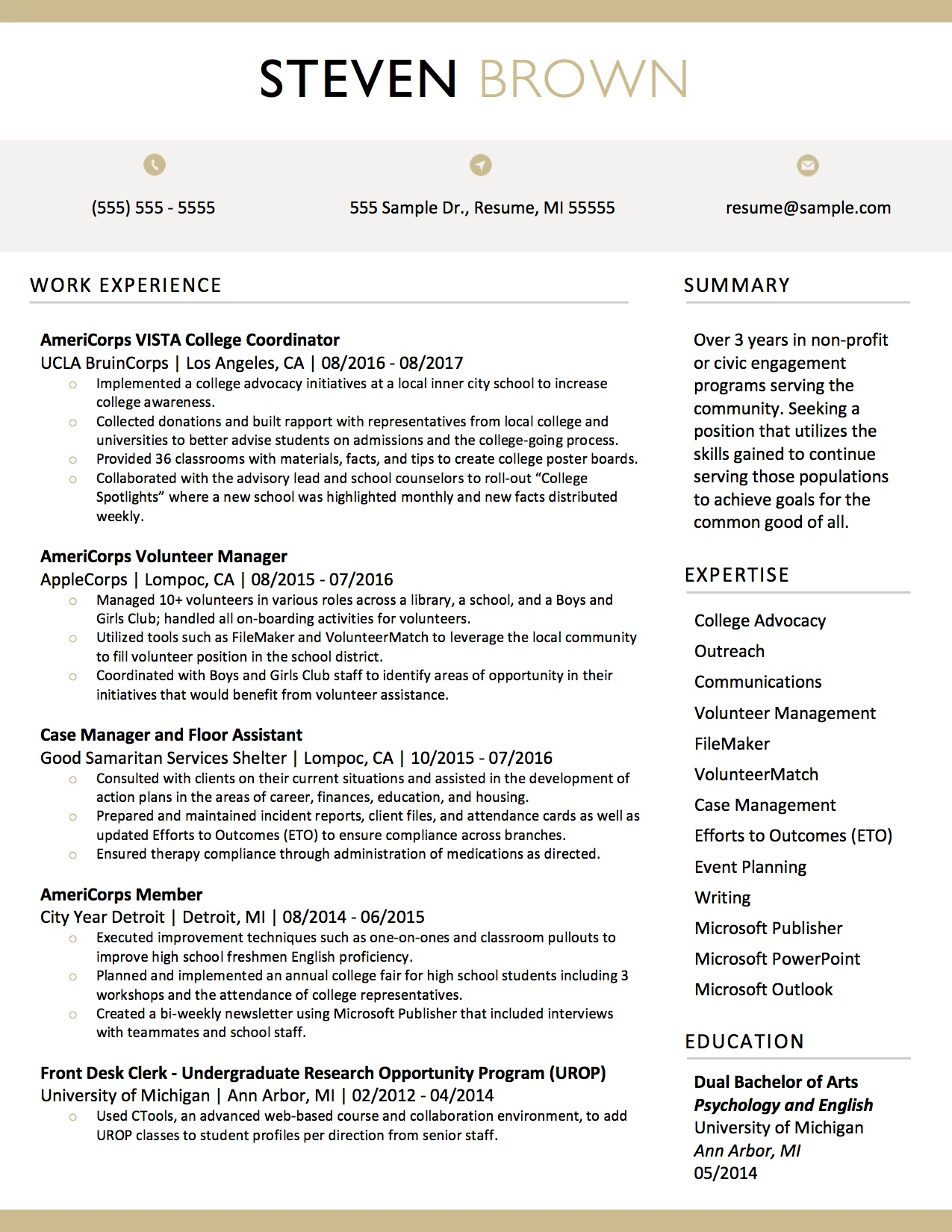Client Resume #14. Click to Enlarge.