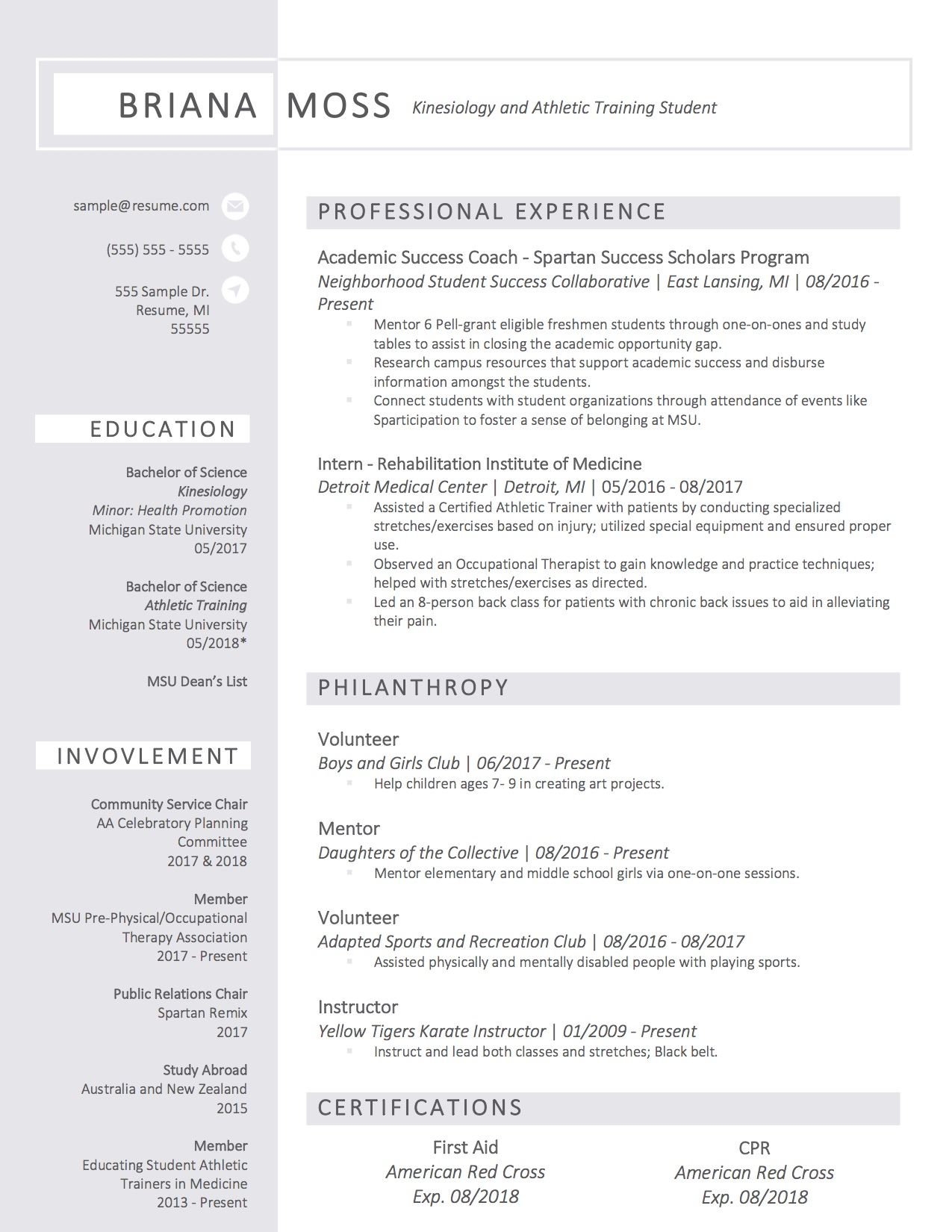 Client Resume #16. Click to Enlarge.