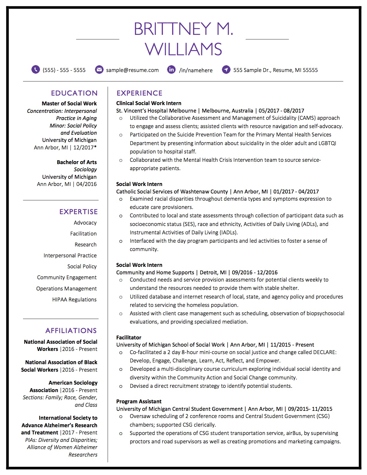 Client Resume #19 pg 1. Click to enlarge.