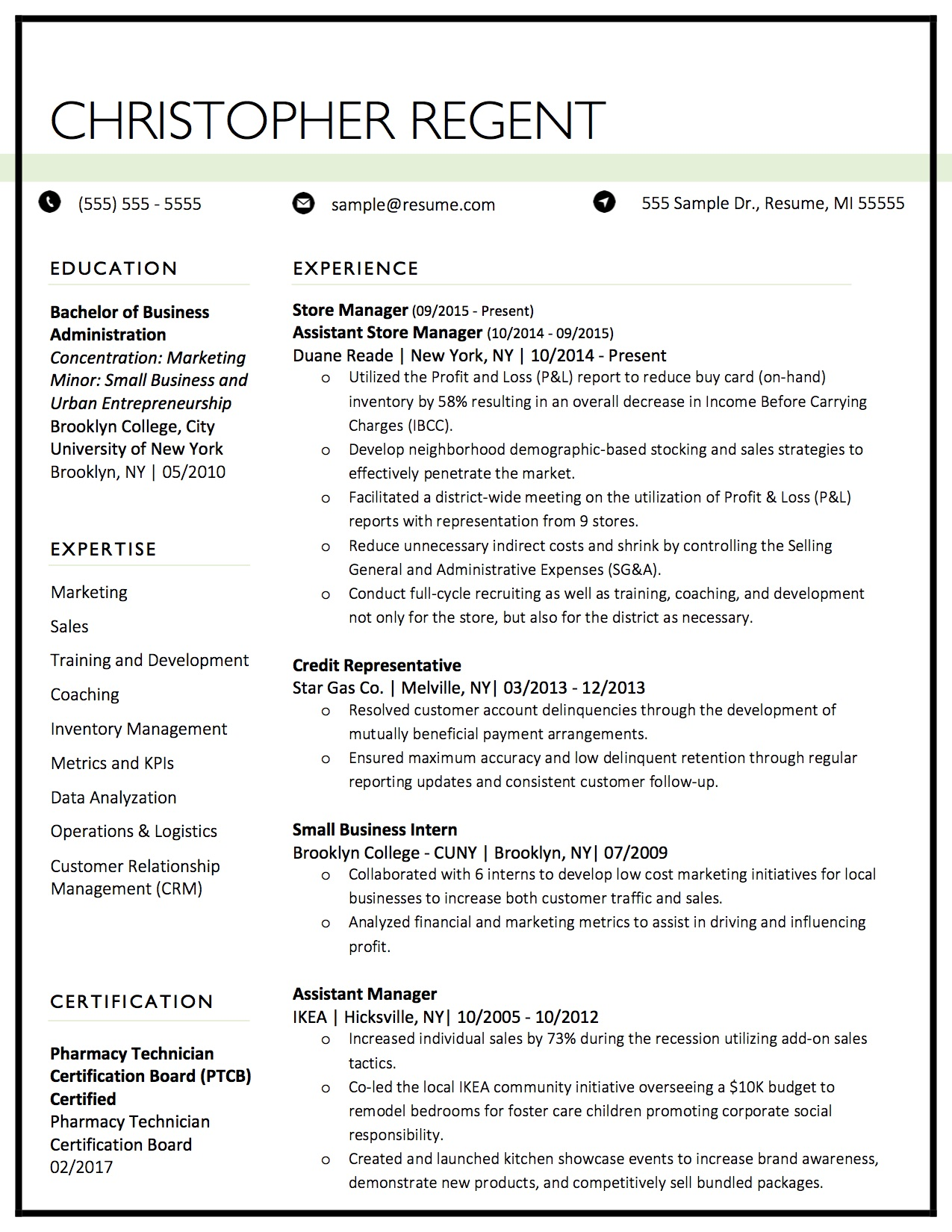 Client Resume #20. Click to enlarge