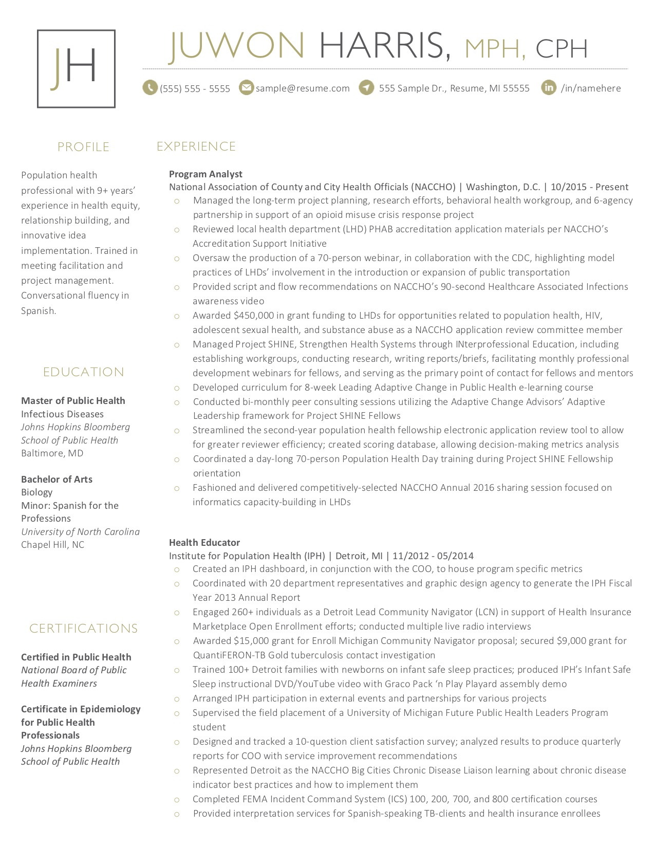 Client Resume #23. Click to enlarge.
