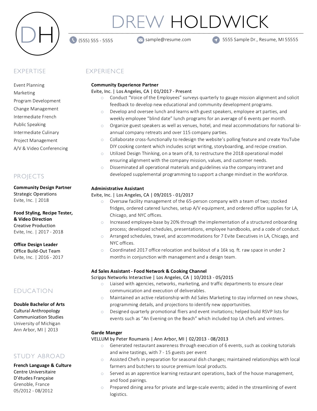 Client Resume #34. Click to Enlarge.