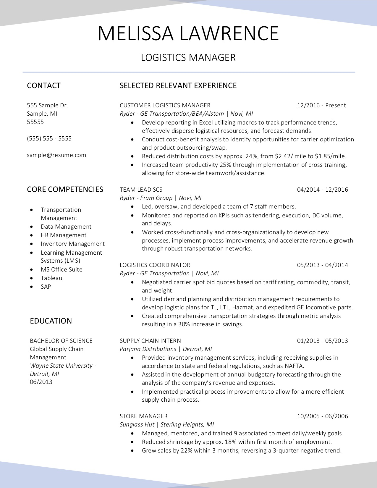 Client Resume #37. Click to Enlarge.