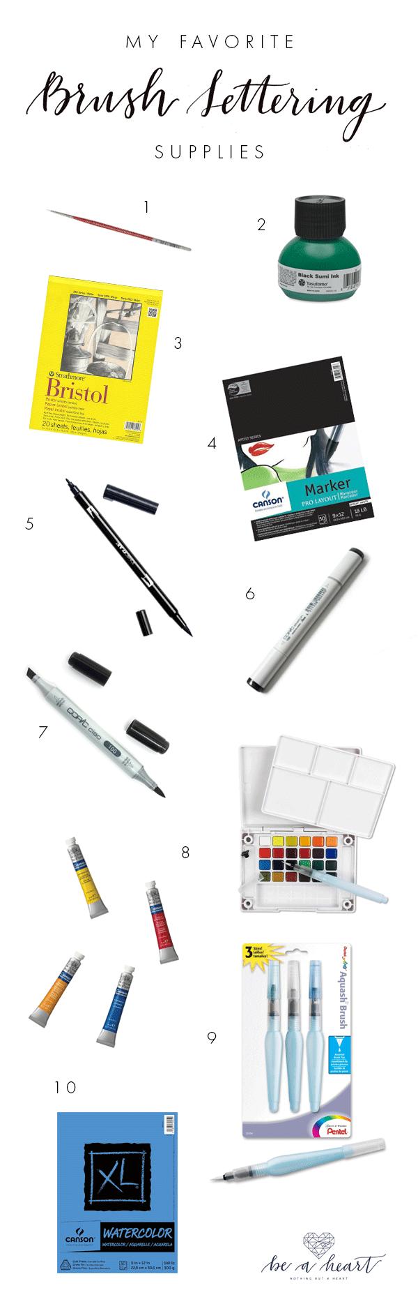 Favorite Brush Lettering Supplies