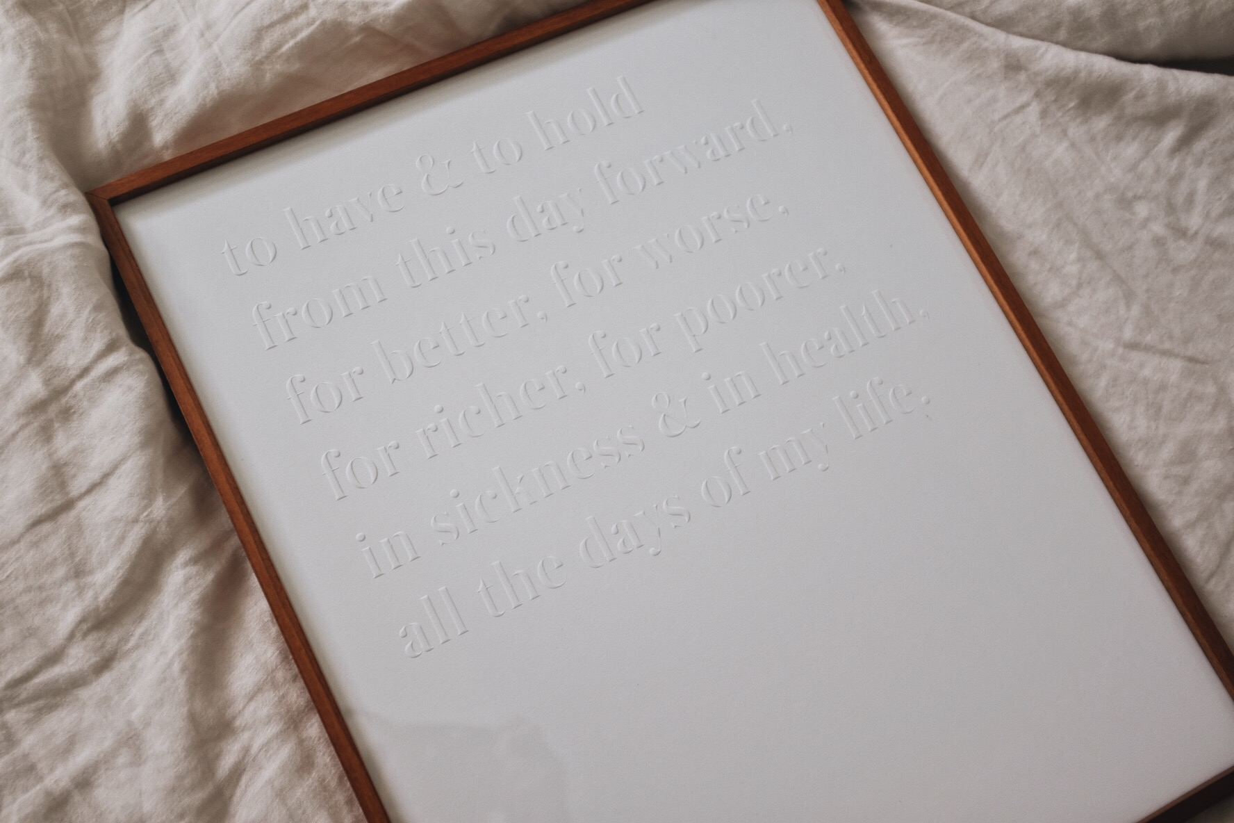 Looking for the perfect wedding gift? Grab our brand new blind embossed wedding vow art.