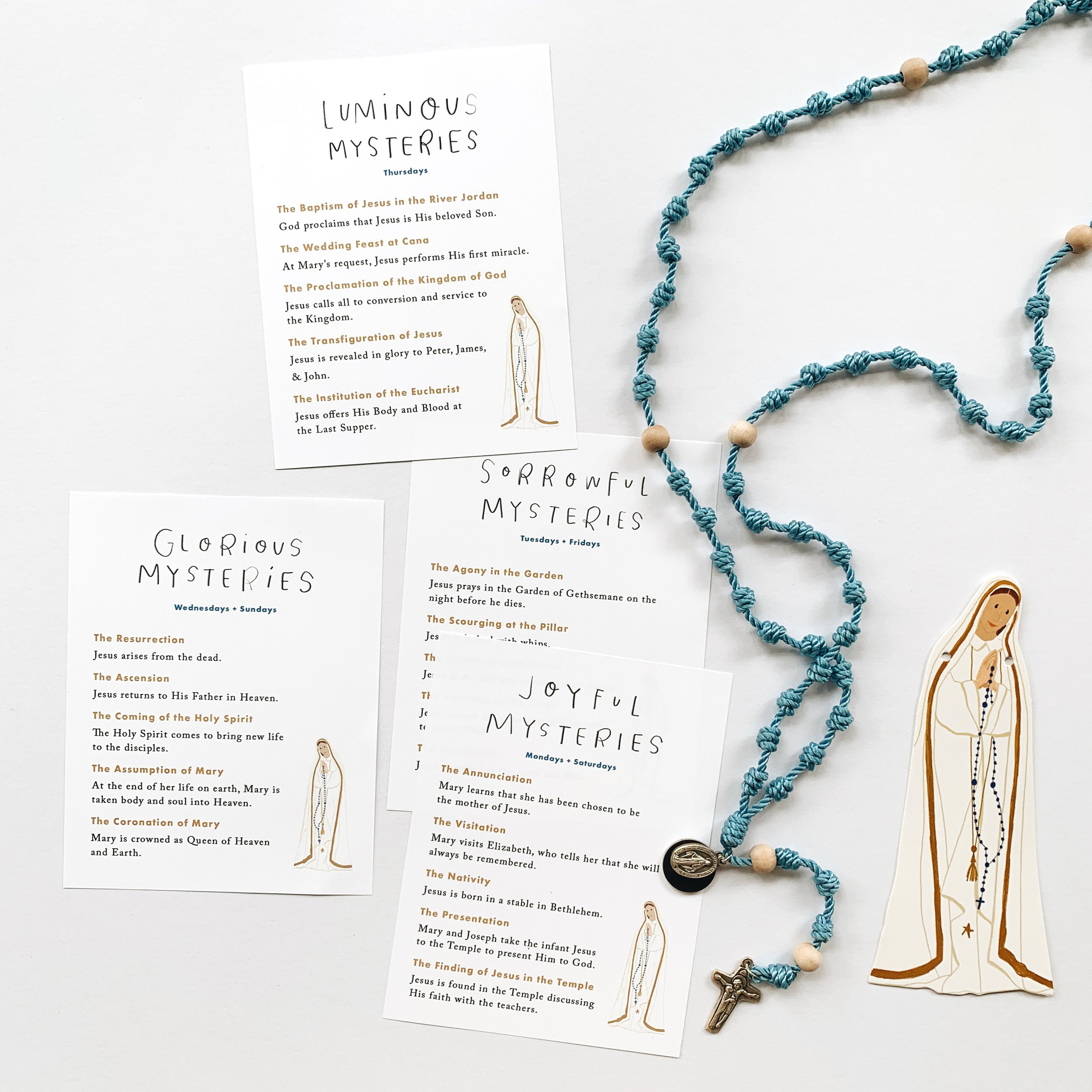 free mysteries of the rosary cards