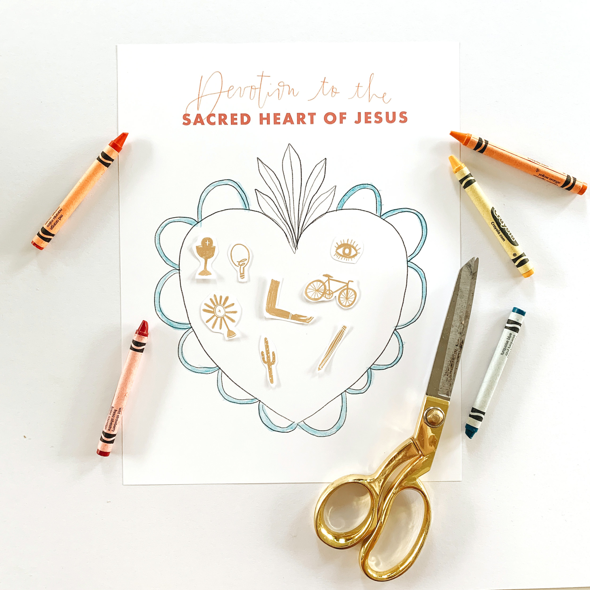 sacred heart coloring sheet milagros