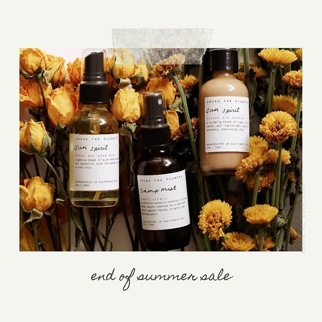Catch our sale today through Monday night! We are offering 20% off of everything! Our Summer products move out of production this weekend and will not be back until next year, so stock up on your favorites (Camp Mist, Sun Spirit Aloe Mist, Sun Spirit Sun Shield, Wildflower and Wild Mint Candles)! We will also be discontinuing Bergamot Black Pepper and Honey Hi candles.