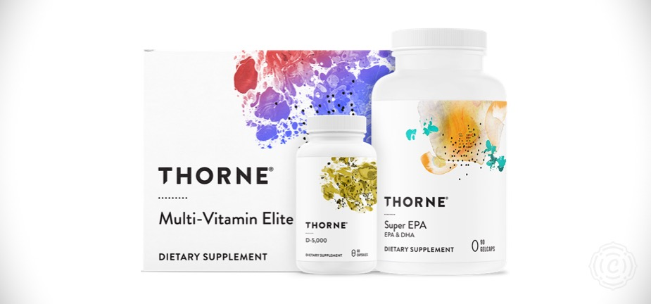 Thorne Foundational Bundle   Thorne offers the highest quality health supplements available and is the only supplement brand I trust. Thorne's Foundational Bundle is a three product pack that I take daily. The Foundational Bundle includes the Multi-Vitamin Elite, D-500, and Super EPA.