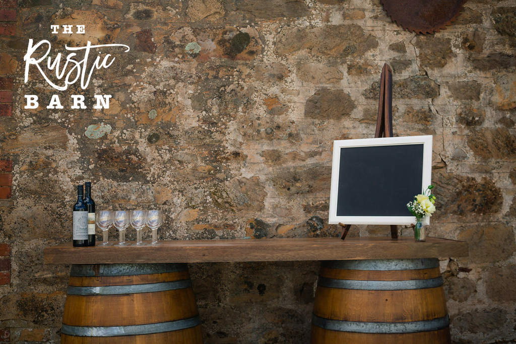 The Rustic Barn wine barrel wedding bar hire