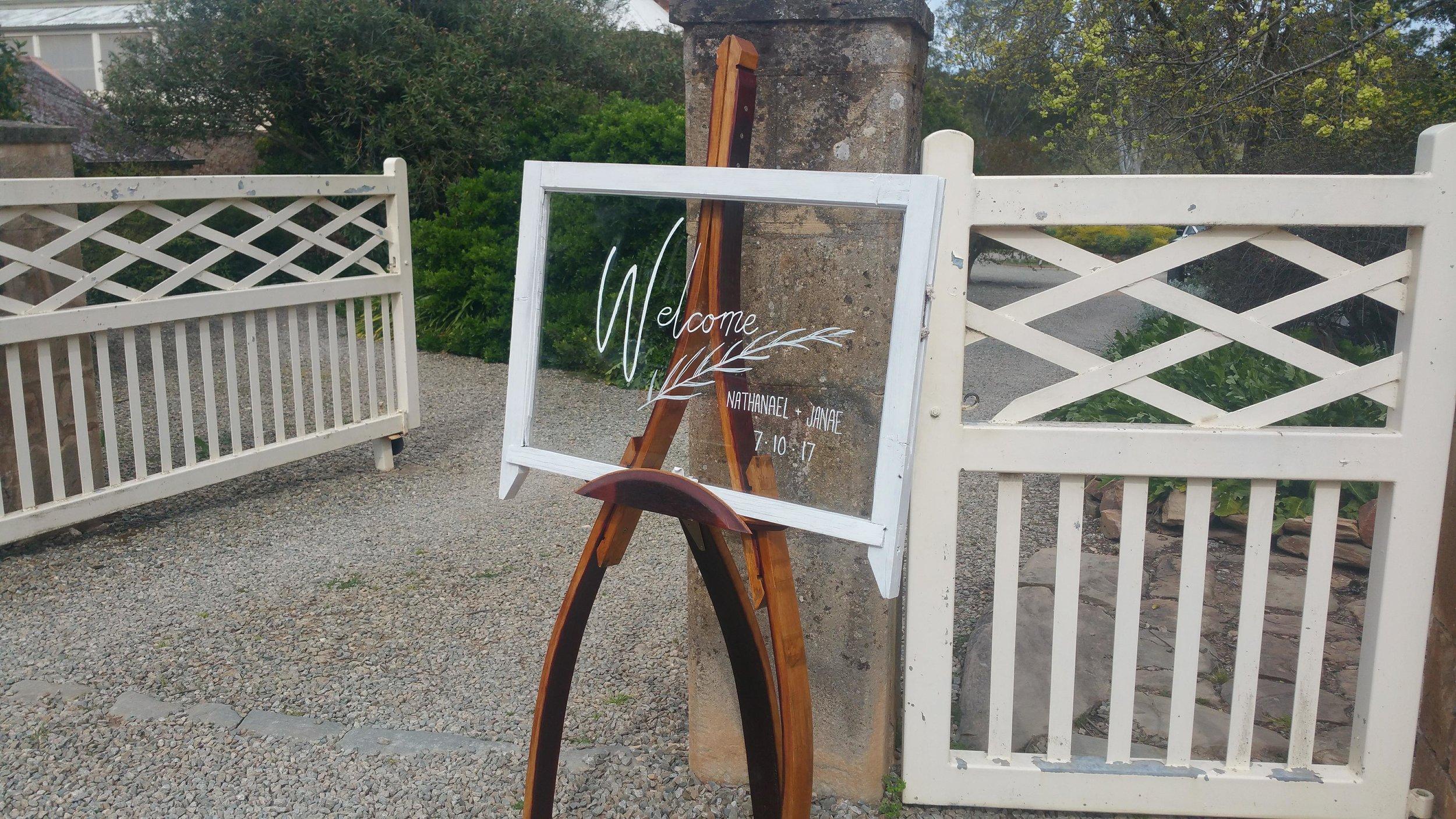 The Rustic Barn  wine barrel easel