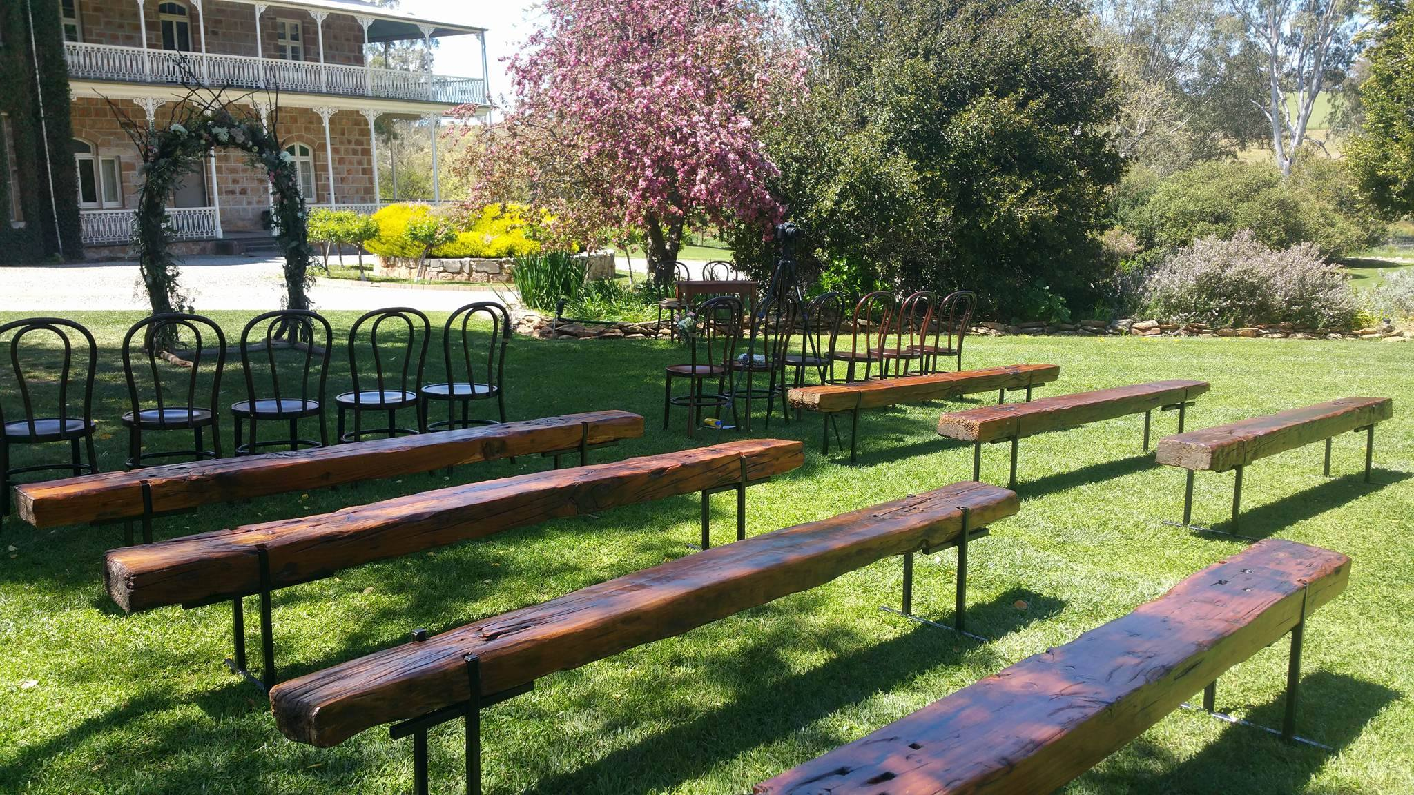 The Rustic Barn wedding ceremony benches at Bungaree Station, Clare.