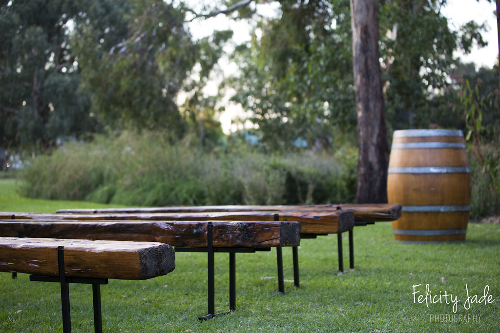 The Rustic Barn wedding  ceremony benches