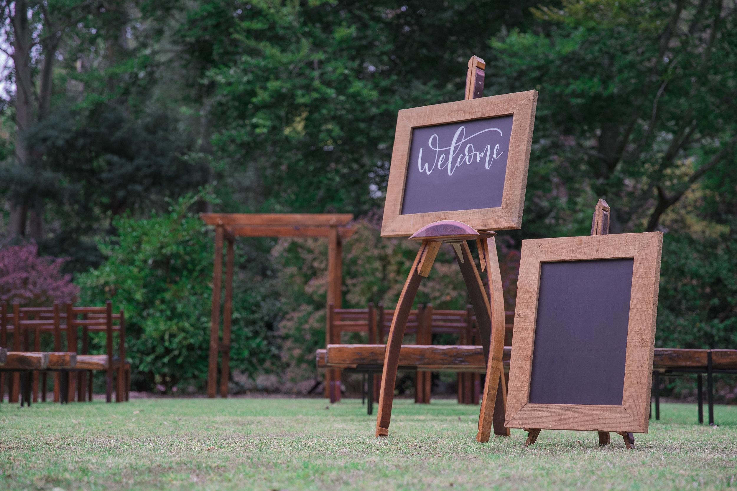The Rustic Barn reclaimed Oregon chalkboard and wine barrel easels