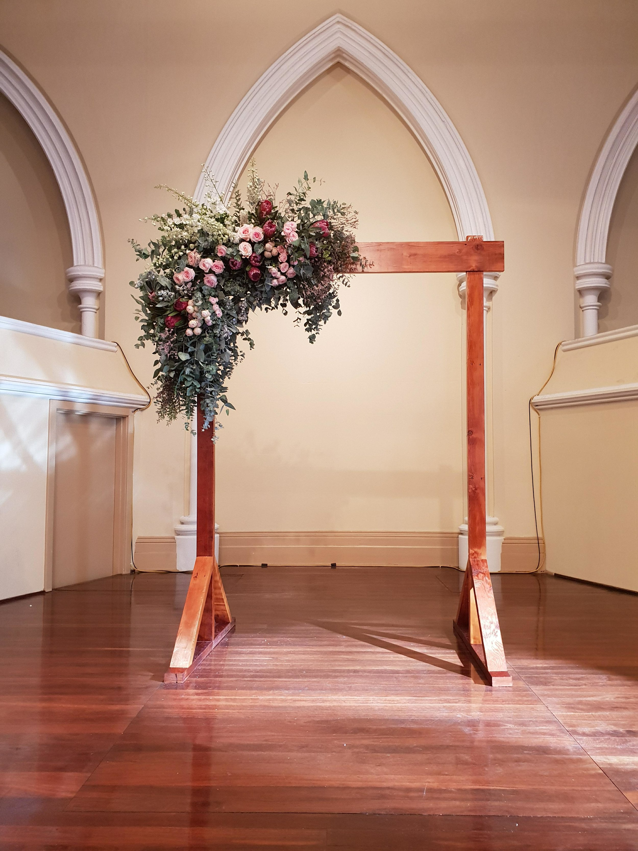 The Rustic Barn reclaimed two-post wedding arbour in Adelaide Town Hall