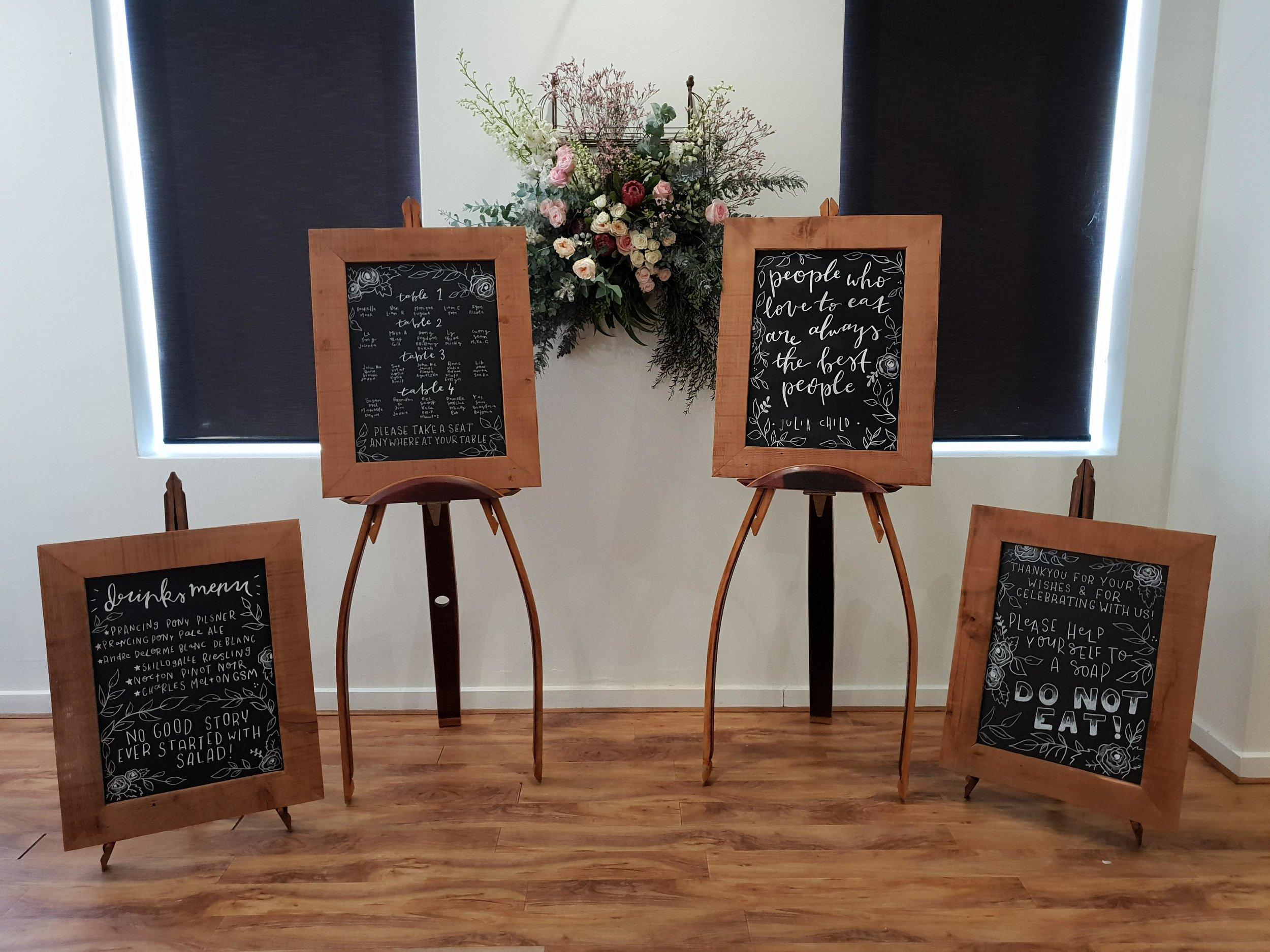 The Rustic Barn reclaimed Oregon chalkboard and wine barrel easel hire
