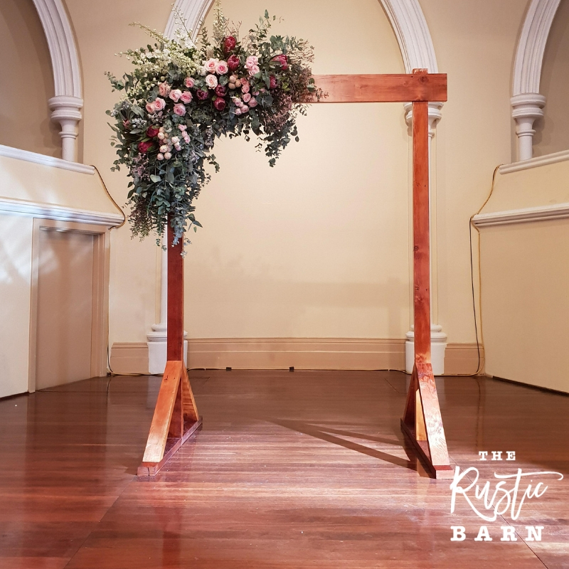 REAL WEDDING - The Rustic Barn two-post Wedding Arbour in Adelaide Town Hall