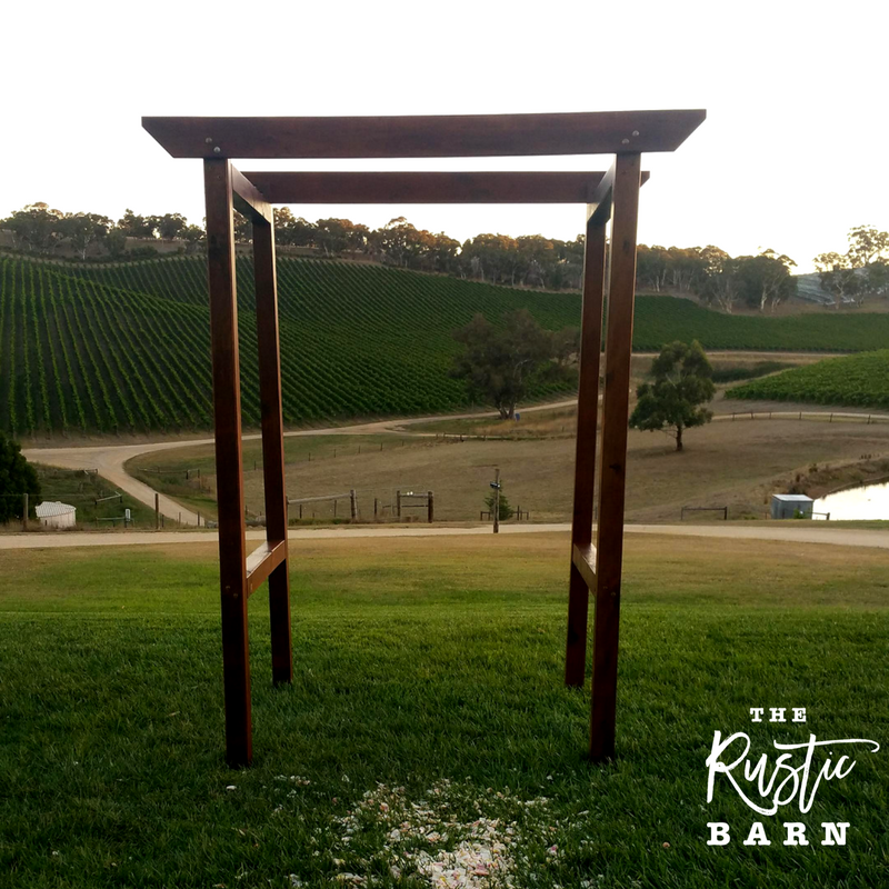 REAL WEDDING - The Rustic Barn four-post Wedding Arbour at Longview Vineyard.