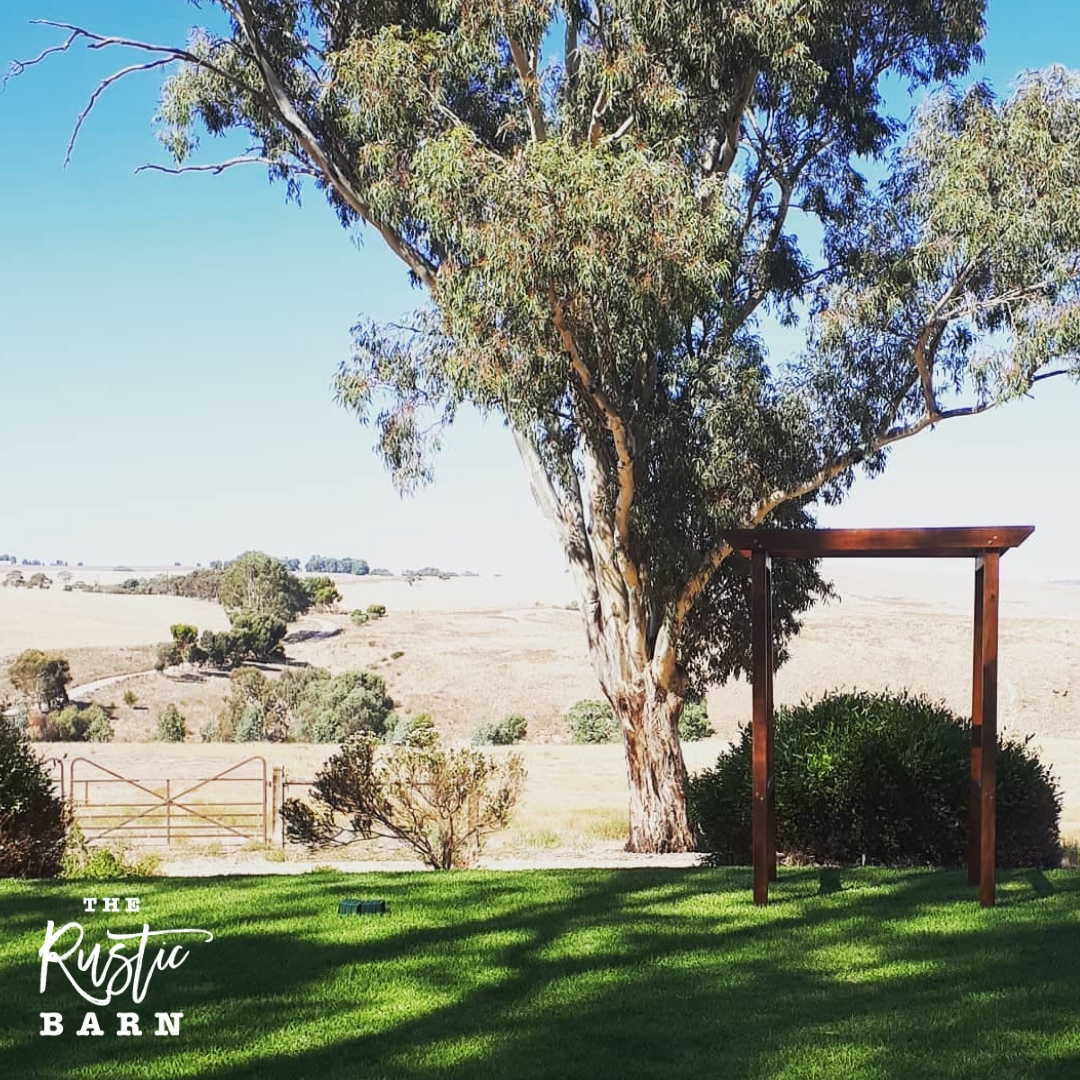 REAL WEDDING - The Rustic Barn four-post Wedding Arbour at Kingsford Homestead.