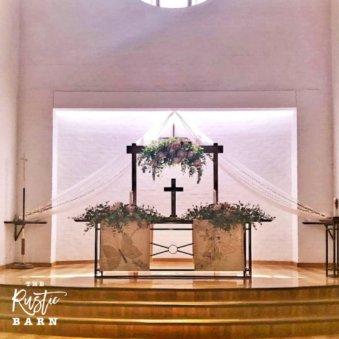 REAL WEDDING - The Rustic Barn two-post Wedding Arbour in Lobethal Lutheran Church.