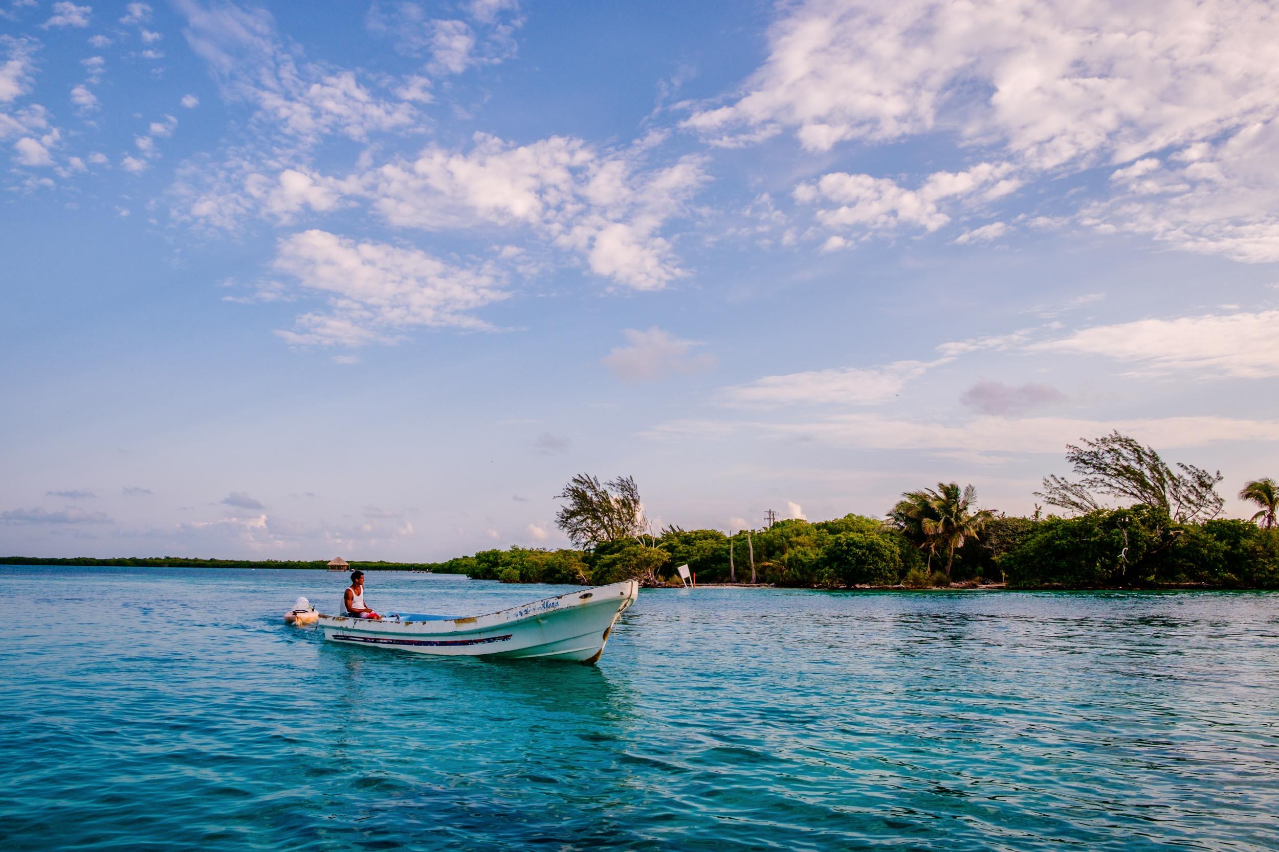 Boat on Caribbean Sea