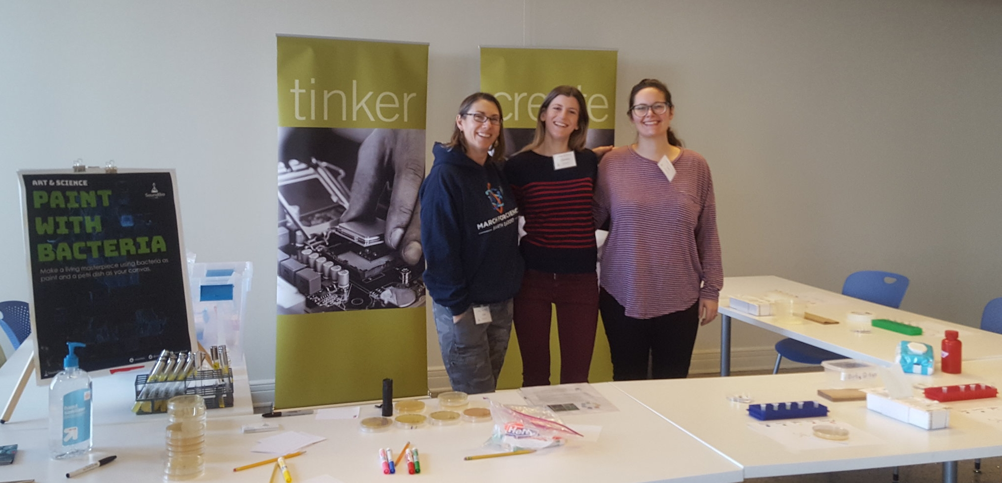 Our SoundBio Lab volunteers (L to R): Holly Sawyer, Christiana Doulami, and Taylor Wang