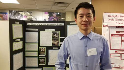 David Lu of Roosevelt HS worked on a Microcystis project from December at SoundBio Lab.