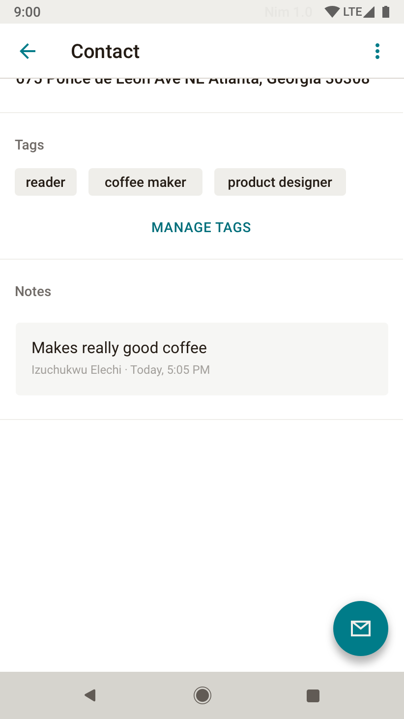 User can manage Contact tags or view notes (originate on Web).