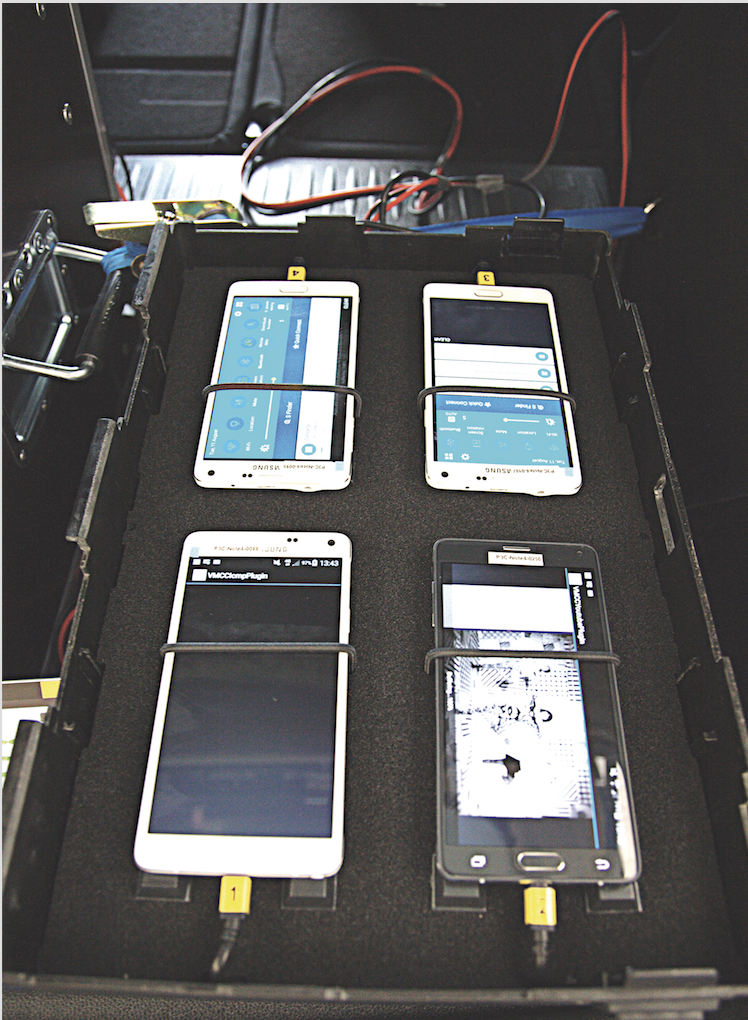 Each box was housing four smartphones which allowed the simultaneous testing of four mobile operators.