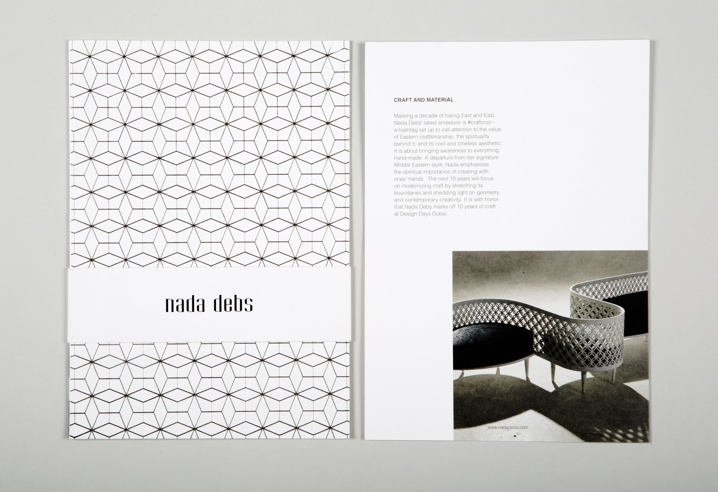 Identity design for  Nada Debs , representing the designer's rich cultural influences. Japanese minimalism, Islamic Arabesque patterns, and a passion for handmade craft come together in contemporary design items. This branding project was designed during my work with  Studio Safar.  More images  here .