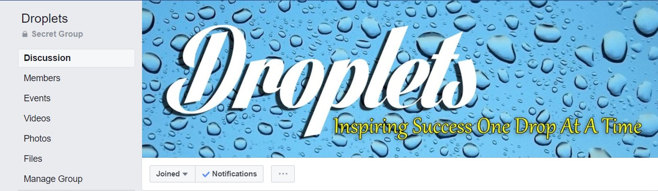 Droplets  is ran by  Dawn Hampton  who is just above Leah in the upline. She is a Diamond leader and was enrolled by Lindsay Moreno. Her group is great for up to date knowledge from Young Living Corporate (Diamonds get the goods quicker) Dawn also runs contests with great prizes for us! If you want to be added check with your enroller.