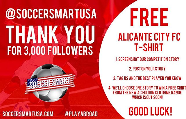 💥💥 3,000! 💥💥 FREE GIVE AWAY TIME! Just follow the rules on the post (: 1️⃣Screenshot this post! 📸 2️⃣Share on your story!✍️ 3️⃣Tag the best player you know @ AND @soccersmartusa  4️⃣Be entered to win! 🙏  Thank you all for the great support! We're currently seeking talented players to continue their careers after college graduation abroad at a higher level! Don't be afraid to get out of your comfort zone and REACH OUT if you're interested in making 💰 playing ⚽️ overseas and ❤️life on the 🏖  3k followers on point! #playabroad #3kfollowers #soccerinspain #soccerinaustralia #usl #usasoccer #nisa #npsl #upsl #uslchampionship #usl2 #collegesoccer