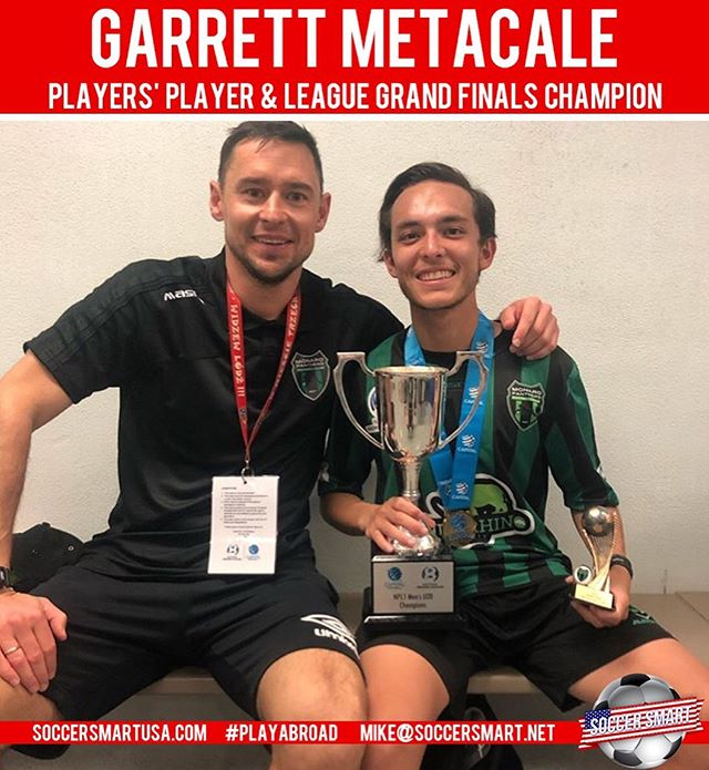 💥💥BIG NEWS💥💥 coming in from 🇦🇺 as our Dallas trial attendee @garrett_matacale has helped his team win the grand finals as well as voted 🏆MVP Player's Player of the year!  Congratulations Garrett!  #playabroad #playaustralia #playspain #playUS #playcanada #trophies #mvp #npsl #usl2 #nisasoccer #mls #usl