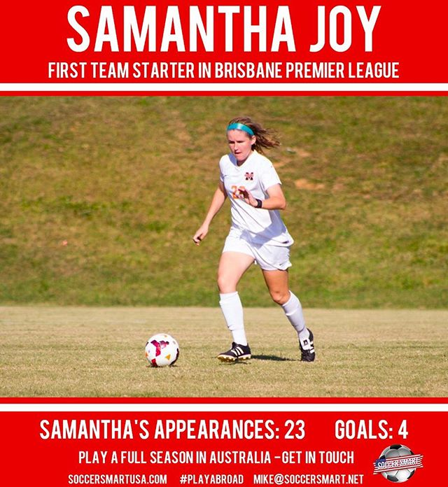 Congratulations to #Smartplayer Sami Joy 💁♀️🇦🇺⚽️as she finishes up her time to #playabroad after college graduation! 🎓  We're here to provide deserving men and women opportunities to continue they're playing career after college! FACT:💯 Most Americans graduate at age 21... Soccer careers can last as long as 32+!! Why not you?  #playaustralia