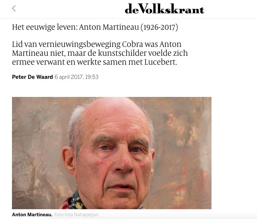 de Volkskrant - -In memorian for Anton Martineau-Read here