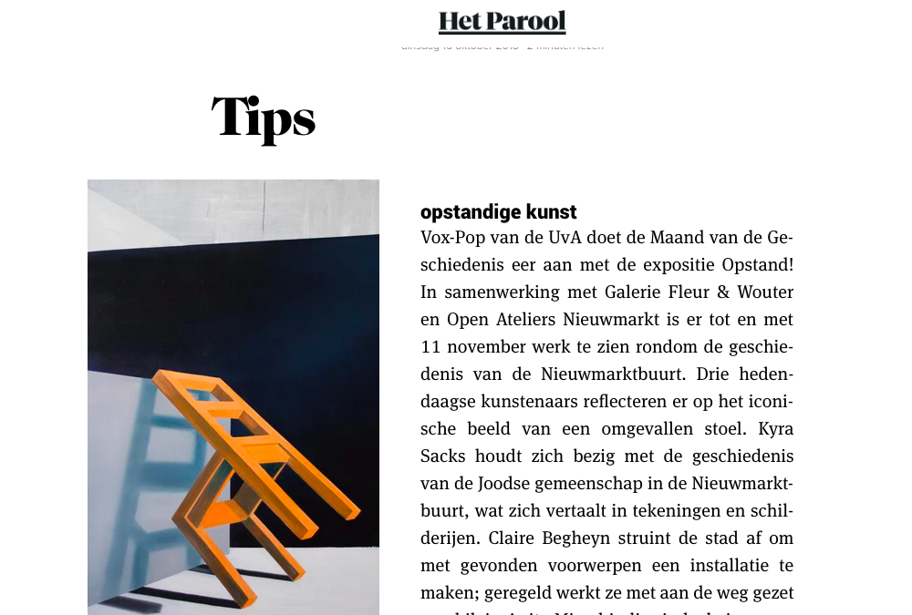 Het Parool - -Article about the exhibition Revolt!-Read here