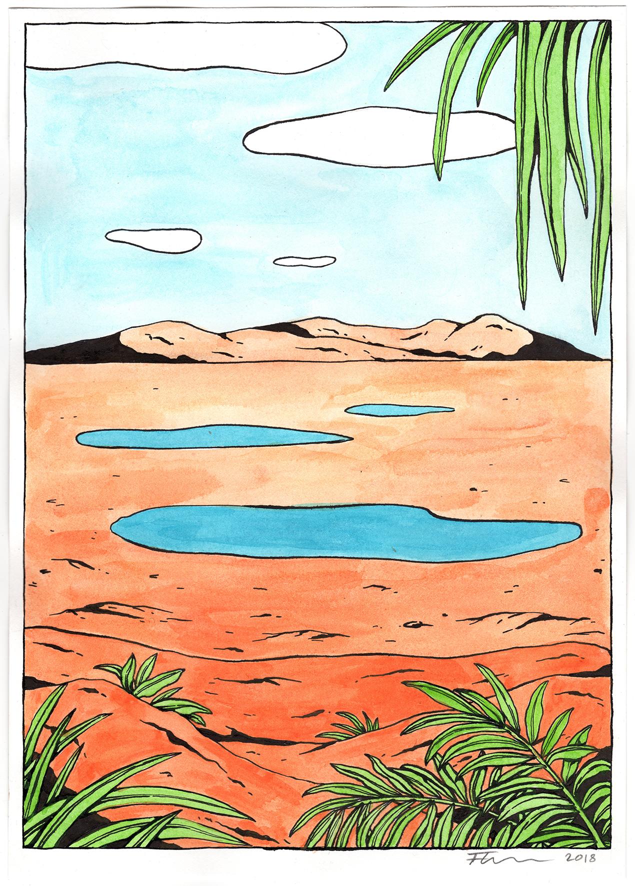 9. Floor van het Nederend, Lakes and Clouds, 2018, 29,7 x 21 cm, acrylics and ink on paper €500,-.jpg