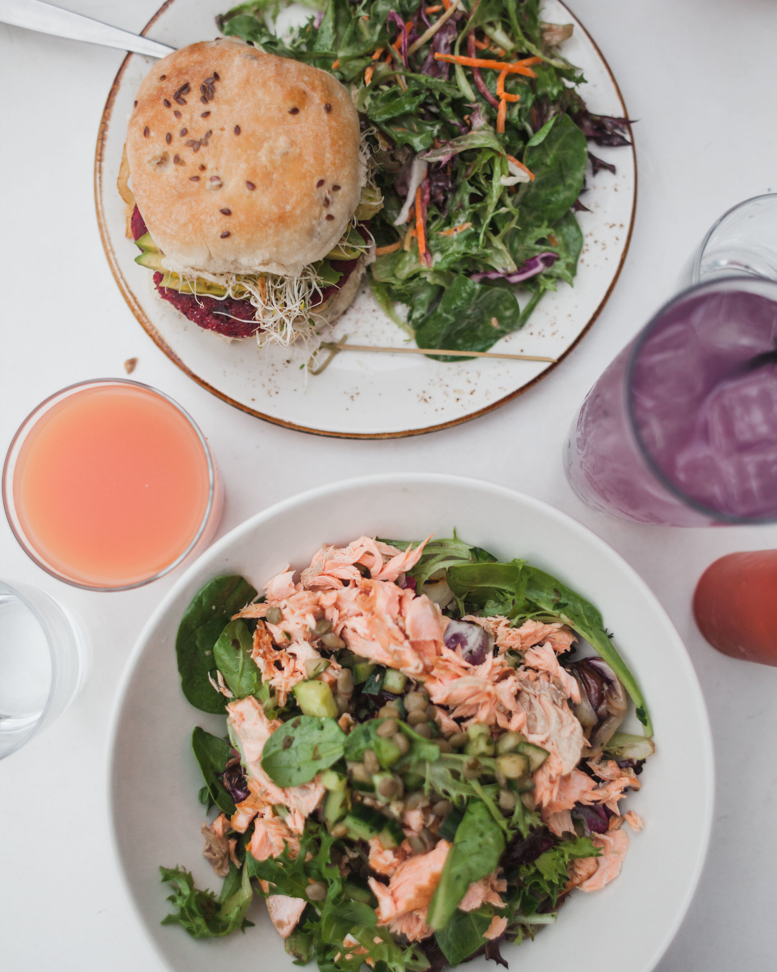 SMOKED TROUT - Smoked Trout, Cucumber, Grilled Radicchio, Lentils and Almonds, with Herb Vinaigrette    VEGGIE BURGER - Red Beet and Quinoa Patty with Roasted Celeriac, Smoky Tahini, Greens and Avocado on a Multigrain Bun