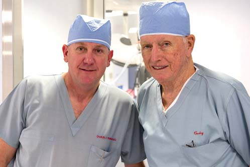 Heart surgeons who leave a family legacy, Fraser and Cooley in 2011.   Credit: Texas Children's Hospital