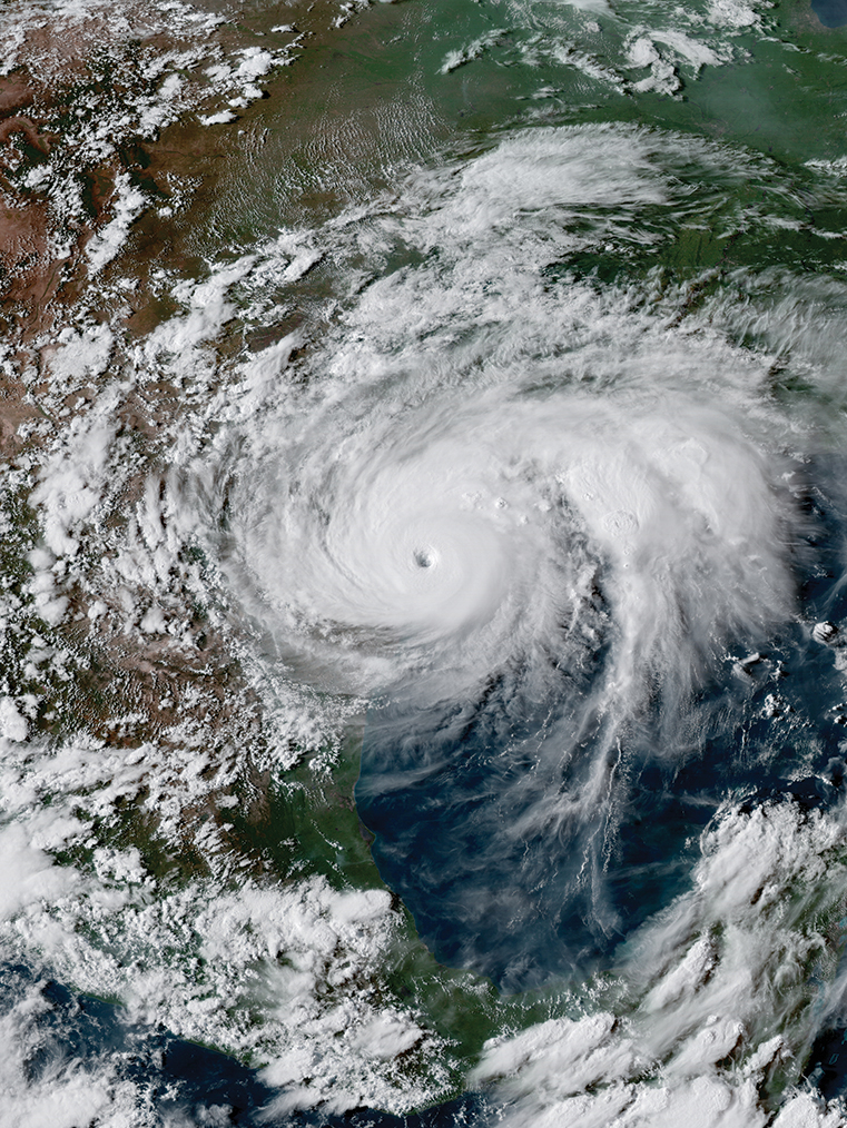 Hurricane Harvey near peak intensity prior to landfall in southern Texas on Aug. 25, 2017.
