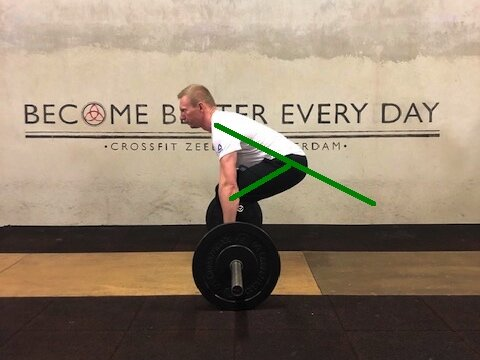 Conventional deadlift with over 100 degrees of hip flexion