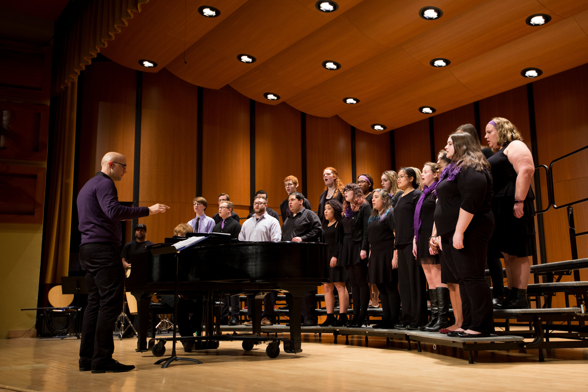 Curry College SING! at the MassACDA Intercollegiate Choral Festival—building a better future for our world.  Photo by  Lauren Holahan .