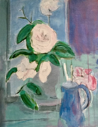 """WHITE ROSES  OIL ON BOARD  29"""" X 23""""   SOLD"""