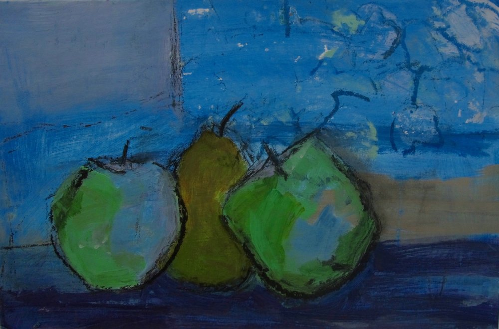 """ANNIE'S QUINCES  ACRYLIC ON BOARD  10"""" X 15""""   SOLD"""